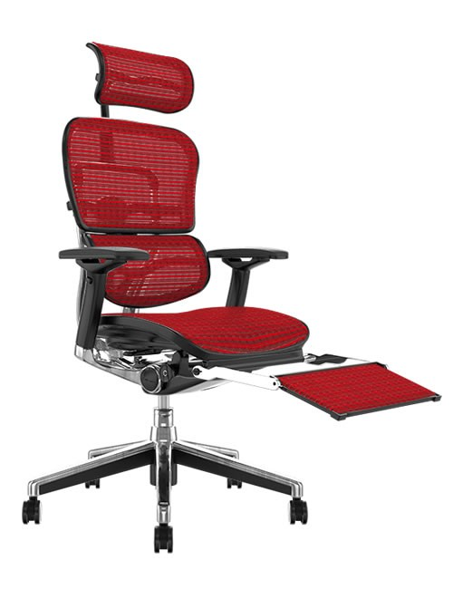 Ergohuman Red Mesh Office Chair with Leg Rest and Head Rest