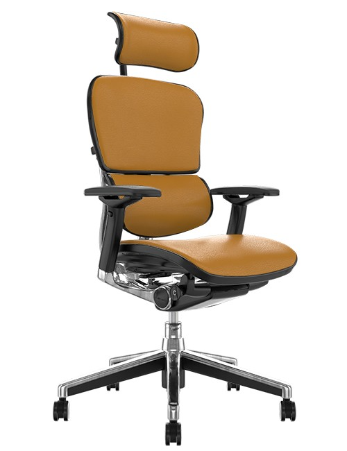 Ergohuman Elite Tan Saffran Leather Office Chair with Head Rest