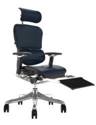 Ergohuman Plus Luxury Black Leather with Head Rest and Black Mesh Leg Rest