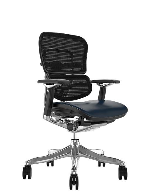 Ergohuman Plus Luxury Black Leather Seat, Black mesh Back no Head Rest