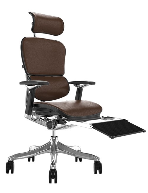 Ergohuman Plus Luxury Brown Leather with Head Rest and Black Mesh Leg Rest