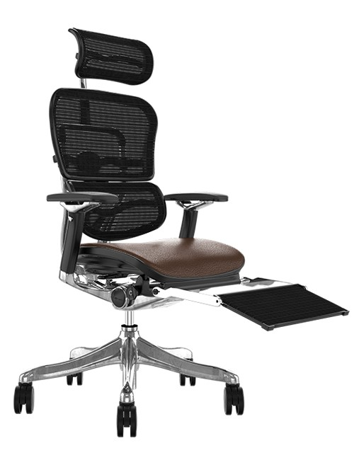 Ergohuman Plus Luxury Brown Leather Seat, Black mesh Back with Head Rest and Leg Rest