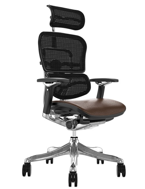 Ergohuman Plus Luxury Brown Leather Seat, Black Mesh Back with Head