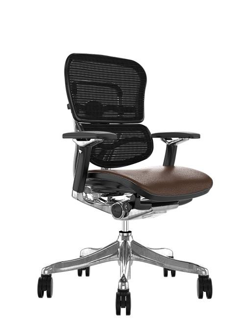 Ergohuman Plus Luxury Brown Leather Seat Mesh Back