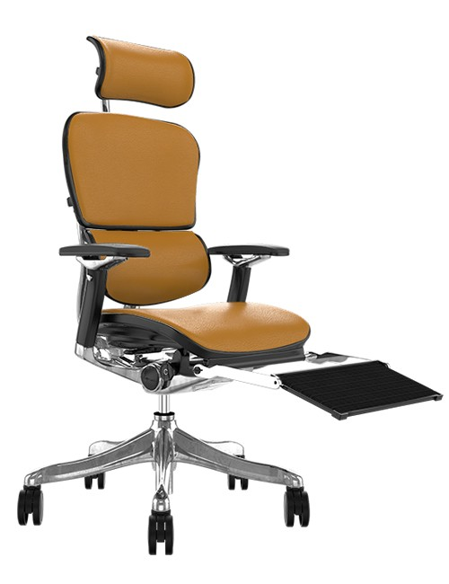 Ergohuman Plus Luxury Latte Leather with Head Rest and Black Mesh Leg Rest