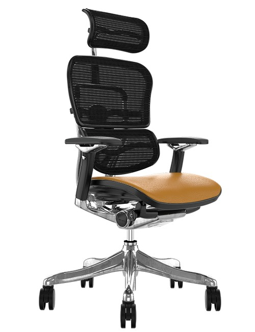 Ergohuman Plus Luxury Latte Leather Seat, Black Mesh Back with Head
