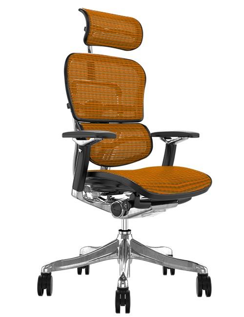 Ergohuman Plus Luxury Orange Mesh Office Chair with Head Rest