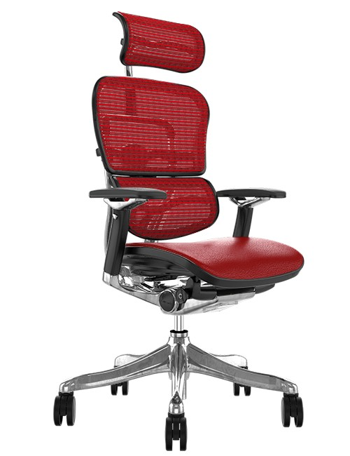 Ergohuman Plus Luxury Red Leather Seat, Red Mesh Back with Head Rest