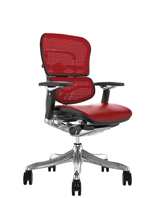 Ergohuman Plus Luxury Red Leather Seat, Red mesh Back no Head Rest