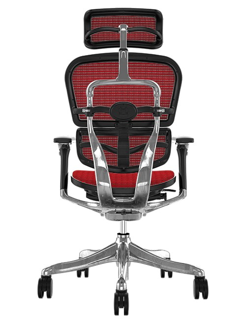 Ergohuman Plus Luxury Red Mesh Office Chair with Head Rest Back