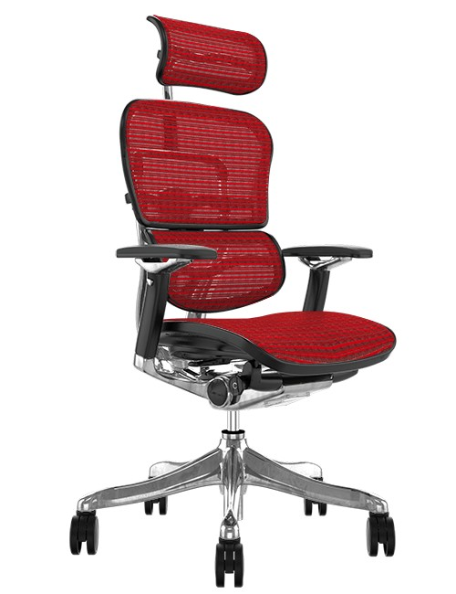 Ergohuman Plus Luxury Red Mesh Office Chair with Head Rest