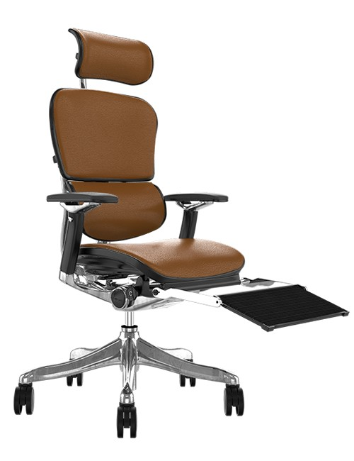 Ergohuman Plus Luxury Tan Saffran Leather with Head Rest and Black Mesh Leg Rest
