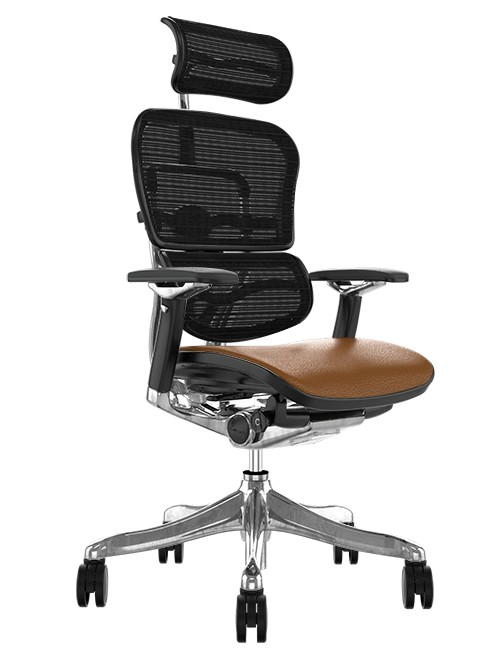 Ergohuman Plus Luxury Tan Saffran Leather Seat, Black Mesh Back with Head