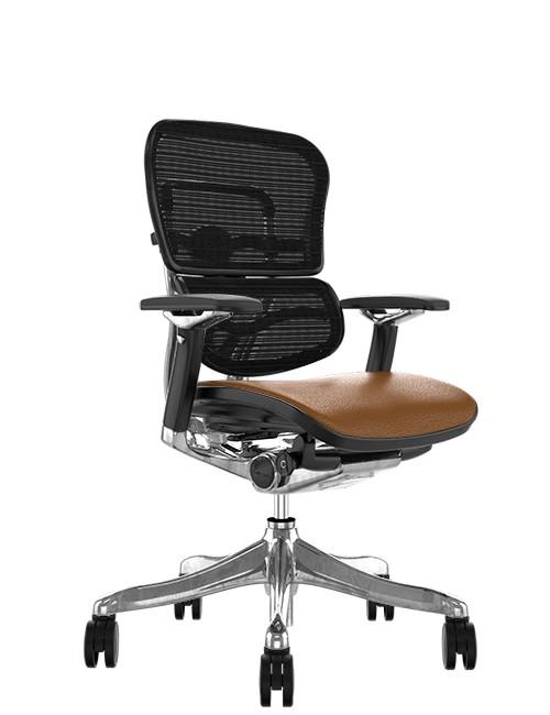 Ergohuman Plus Luxury Tan Saffran Leather Seat Mesh Back