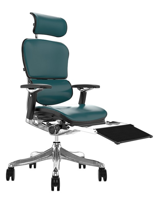 Ergohuman Plus Luxury Teal Leather with Head Rest and Black Mesh Leg Rest
