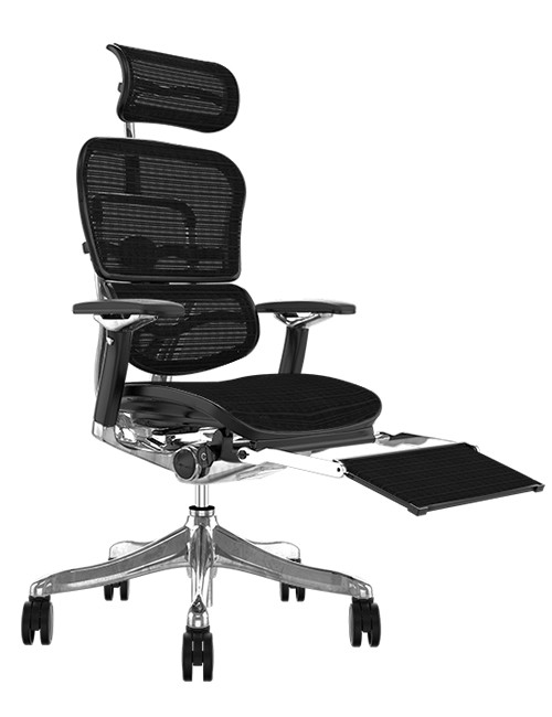 Ergohuman Plus Luxury Black Mesh with Leg Rest and Head Rest