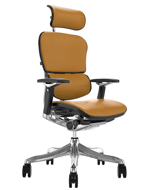 Ergohuman Plus Luxury Latte Leather with Head Rest