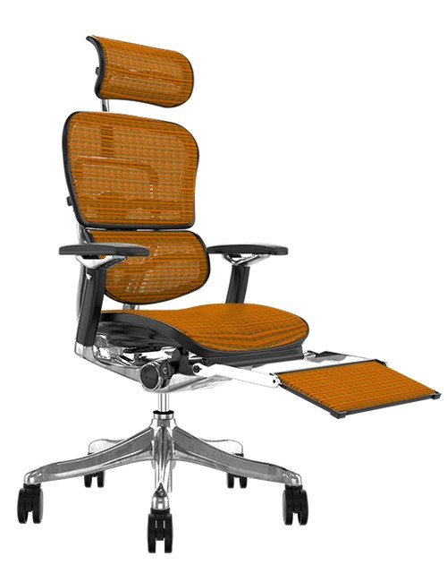 Ergohuman Plus Luxury Orange Mesh with Leg Rest and Head Rest