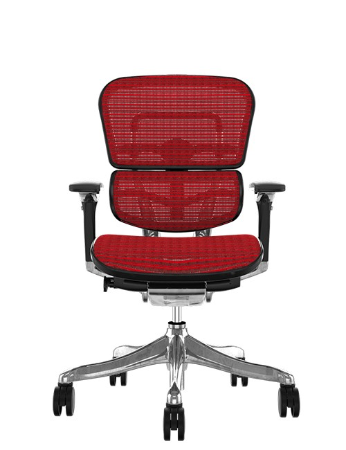 Ergohuman Plus Luxury Red Mesh no Head Rest Front