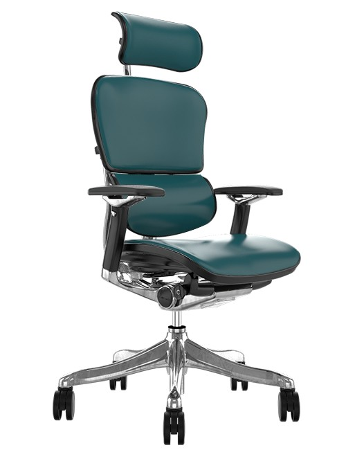 Ergohuman Plus Luxury Teal Leather with Head Rest