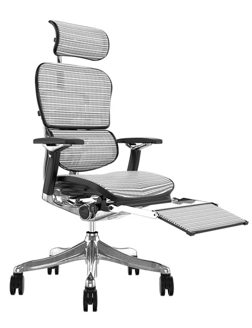 Ergohuman Plus Luxury White Mesh with Leg Rest and Head Rest
