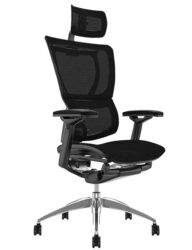 Mirus Black Mesh Office Chair with Head Rest and Black Frame