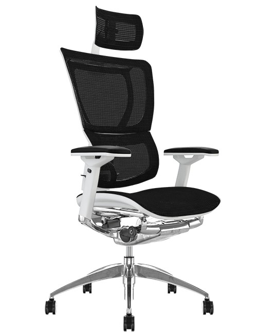 Mirus Black Mesh Office Chair White Frame and Head Rest