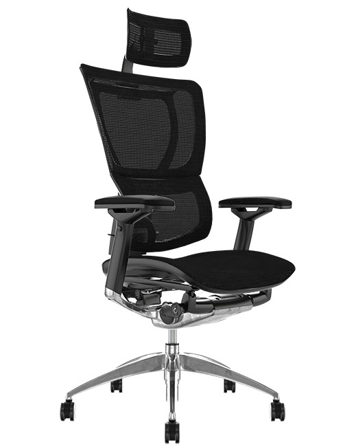 Mirus Black Mesh Office Chair, Polished Frame with Head Rest