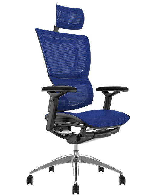 Mirus Blue Mesh Office Chair with Head Rest and Black Frame