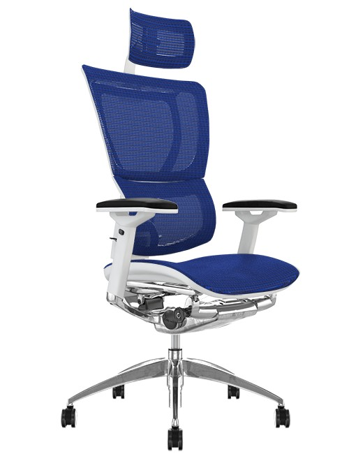 Mirus Blue Mesh Office Chair White Frame and Head Rest