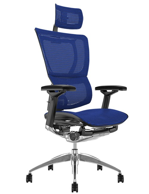 Mirus Blue Mesh Office Chair, Polished Frame with Head Rest