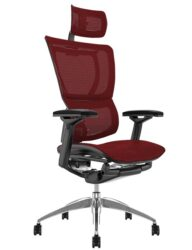 Mirus Burgundy Mesh Office Chair with Head Rest and Black Frame
