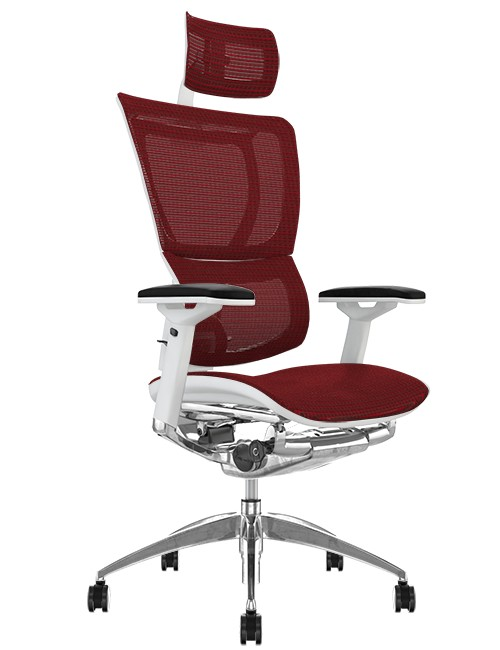 Mirus Burgundy Mesh Office Chair White Frame and Head Rest