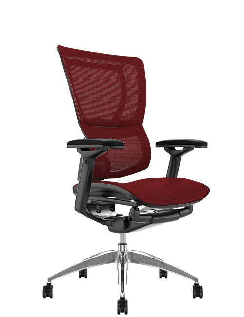 Mirus Burgundy Mesh Office Chair, Black Frame, no Head Rest