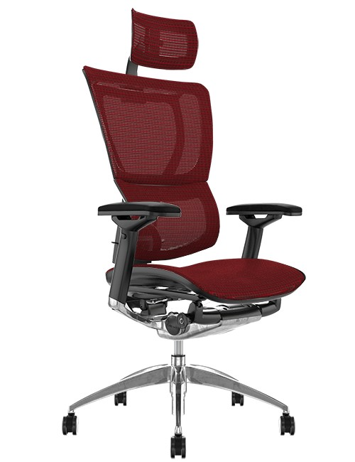 Mirus Burgundy Mesh Office Chair, Polished Frame with Head Rest