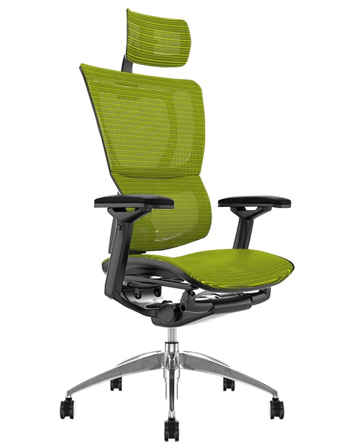 Mirus Green Mesh Office Chair with Head Rest and Black Frame