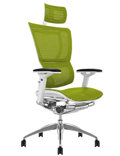 Mirus Green Mesh Office Chair White Frame and Head Rest