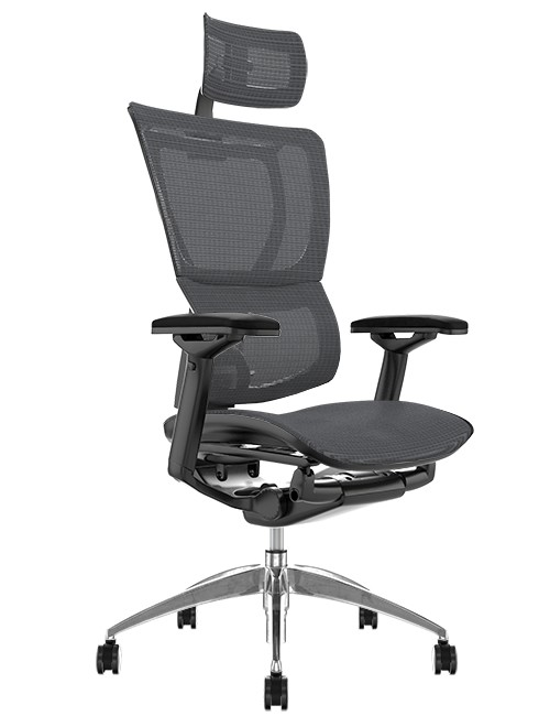 Mirus Grey Mesh Office Chair with Head Rest and Black Frame