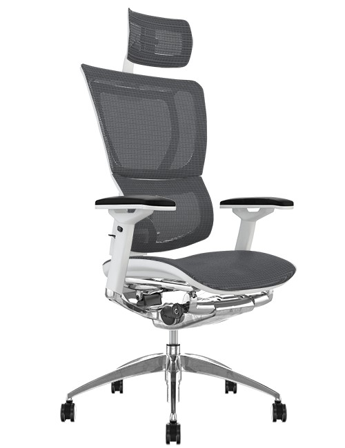 Mirus Grey Mesh Office Chair White Frame and Head Rest