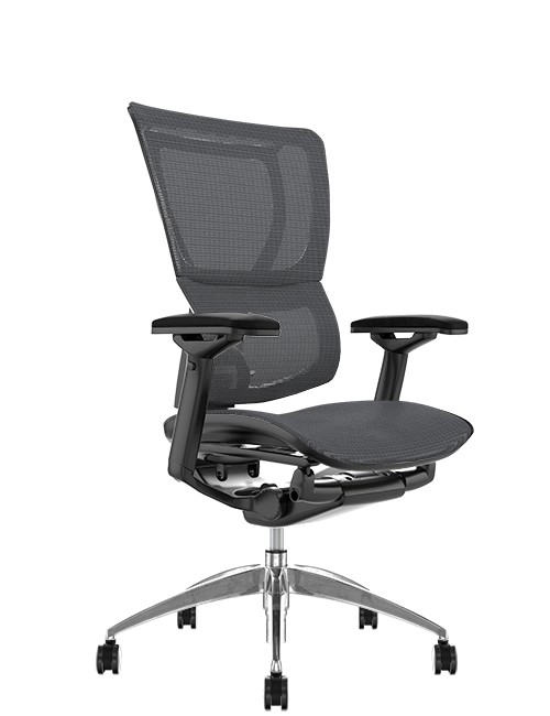 Mirus Grey Mesh Office Chair, Black Frame, no Head Rest