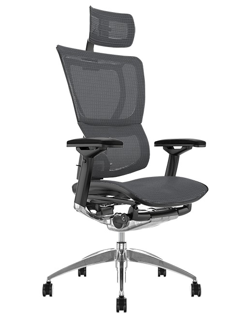 Mirus Grey Mesh Office Chair, Polished Frame with Head Rest