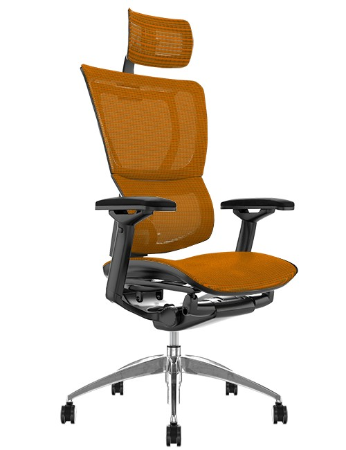 Mirus Orange Mesh Office Chair with Head Rest and Black Frame
