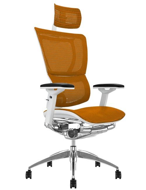 Mirus Orange Mesh Office Chair White Frame and Head Rest