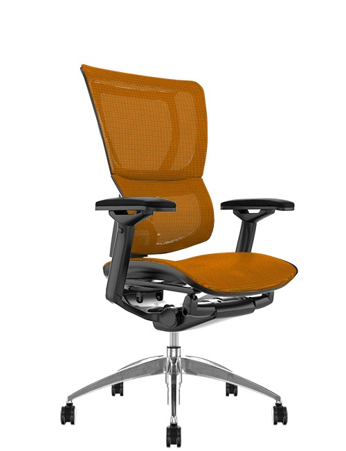 Mirus Orange Mesh Office Chair, Black Frame, no Head Rest
