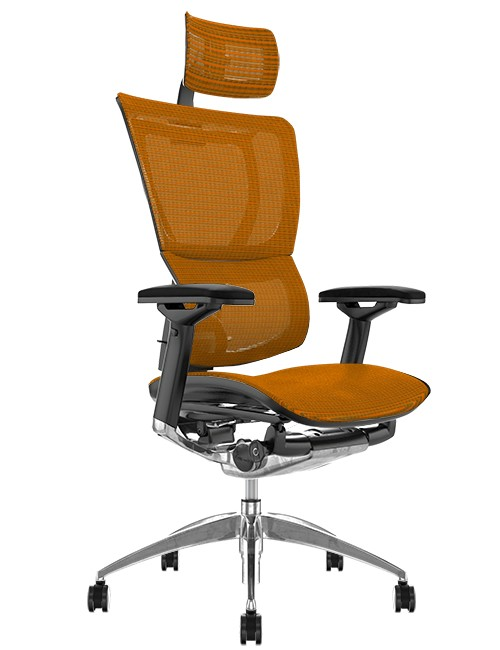 Mirus Orange Mesh Office Chair, Polished Frame with Head Rest