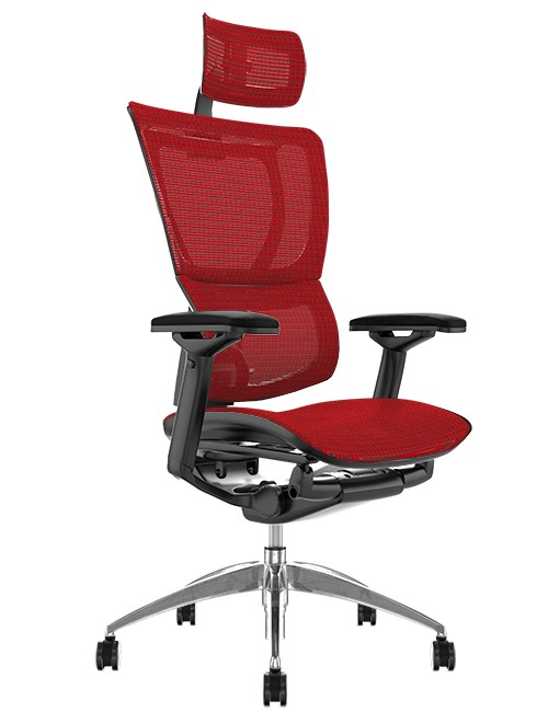 Mirus Red Mesh Office Chair with Head Rest and Black Frame