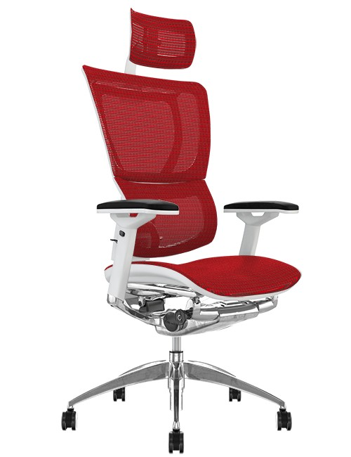 Mirus Red Mesh Office Chair White Frame and Head Rest