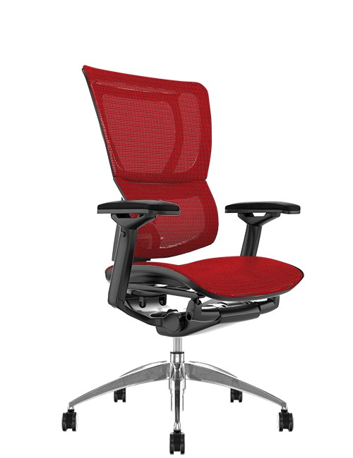 Mirus Red Mesh Office Chair, Black Frame, no Head Rest