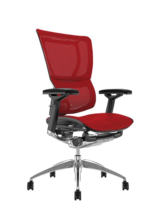 Mirus Red Mesh Office Chair Black Polished Frame