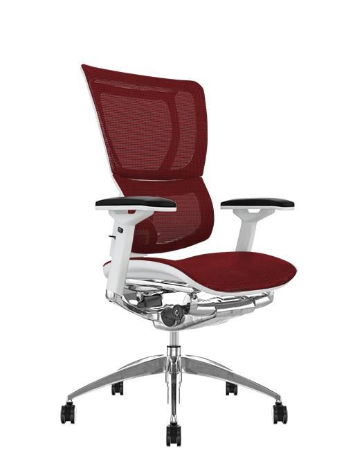 Mirus Burgundy Mesh Office Chair White Frame